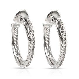 David Yurman Crossover Diamond Hoop Earring 14K Gold & Sterling Silver 0.40ctw