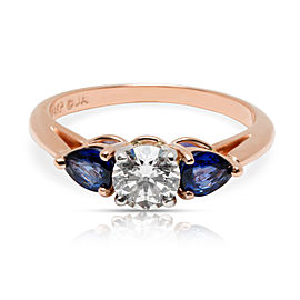James Allen Three Stone Diamond & Sapphire Engagement Ring 14K Rose Gold 1.50CTW