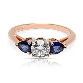 James Allen Three Stone Diamond & Sapphire Engagement Ring 14K Rose Gold 1.50CTW