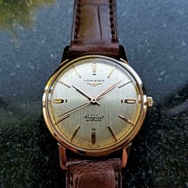 Longines Conquest Automatic 18k Rose Gold 1960s Mens Watch on Croc Vintage LV394