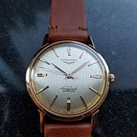 Men's Longines 18k Rose Gold Conquest Automatic, c.1960s Swiss Vintage LV394TAN