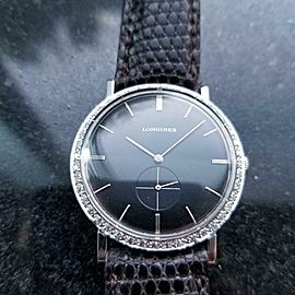 Midsize Longines 18k White Gold ref.167-B Diamond Dress Watch, c.1960s LV65BRN