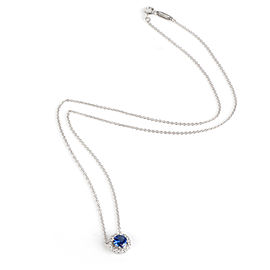 Tiffany & Co. Soleste Sapphire Halo Diamond Necklace in Platinum 0.14 Ctw