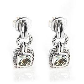 David Yurman Renaissance Prasiolite Diamond Earring in Sterling Silver 0.46 CTW