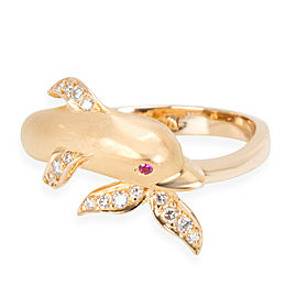 Carrera y Carrera Textured Dolphin Diamond Ring in 18K Yellow Gold 0.1 CTW