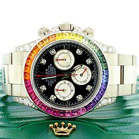 Rolex Cosmograph Daytona 40mm 18K White Gold Watch With Rainbow Bezel