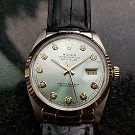 Men's Rolex 18k & ss Oyster Datejust ref.16014 Diamond dial, c.1979 Vintage NS32
