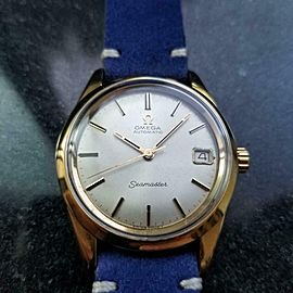 Men's Omega Seamaster Gold-Capped Automatic w/Date c.1966 Vintage Swiss LV399BLU