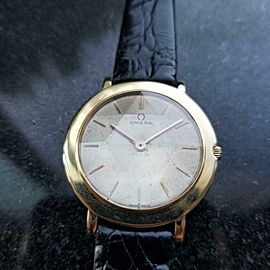 Men's Omega Midsize 18K Gold Manual-Wind Ultra-Thin Dress Watch c.1962 MS196BLK