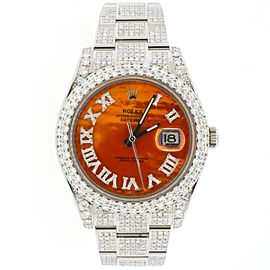 Rolex Datejust II Steel Orange MOP Dial 41mm Diamond Watch Box Papers 116300