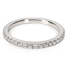 De Beers Classic Half Pave Diamond Wedding Band in Platinum 0.34 ctw