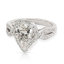 Halo Pear Shape Diamond Engagement Ring in 14K White Gold GIA I VS1 2.05 CTW