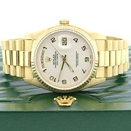Rolex President Day-Date 18K Gold 36MM Ivory Jubilee Arabic Dial Watch Box paper
