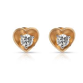 Heart Profile Diamond Stud Earrings in 18K Yellow Gold 0.6 CTW