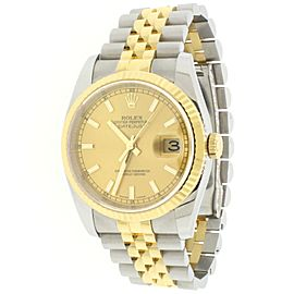 Rolex Datejust 2-tone Yellow Gold/Steel Champagne Dial 36MM Watch 116233