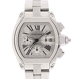 Cartier Roadster XL Chronograph Silver Roman Steel Watch W62019X6 Box Papers