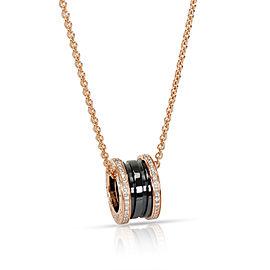 Bulgari B Zero 1 Diamond & Black Ceramic Necklace in 18K Rose Gold 0.38 CTW