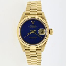 Rolex President Datejust Ladies Yellow Gold 26MM Blue Lapis Dial Watch 69178