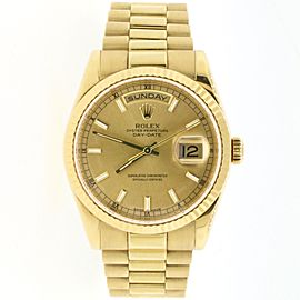 Rolex President Day-Date 18K Yellow Gold 36MM Automatic Watch 118238