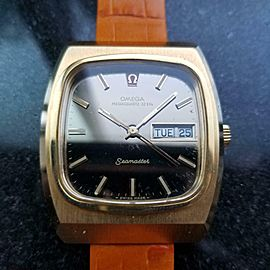 Men's Omega Gold-Capped Seamaster Megaquartz Day Date 40mm 1970s Swiss EB119OR