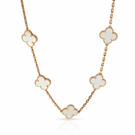 Van Cleef & Arpels Alhambra Mother Of Pearl Necklace in 18K Rose Gold