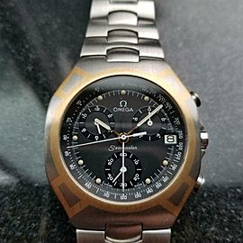 Men's Omega Seamaster Polaris 18k & ss Quartz Chronograph, c.1980s Swiss LV14