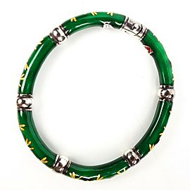 Hidalgo - Diamond Enamel Bracelet - Green Gold Dragonfly Pattern Sterling Silver