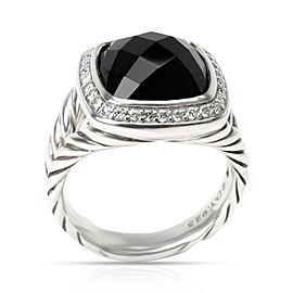 David Yurman 14mm Albion Black Onyx & Diamond Ring in Sterling Silver