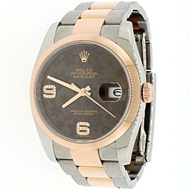 Rolex Datejust 36mm Chocolate Floral Dial 18K Rose Gold & Steel Watch 116201