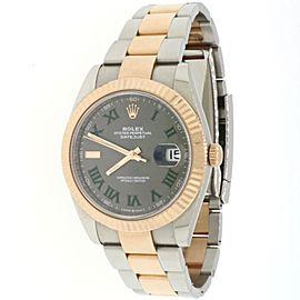 Rolex Datejust Everose Rolesor/Steel Slate Grey Green Roman Dial Watch 126331