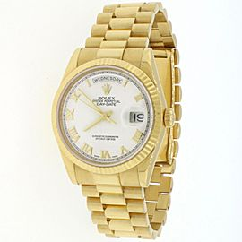 Rolex President Day-Date 36MM 18K Yellow Gold White Roman Dial Watch 118238