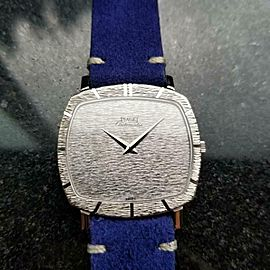 Men's Piaget 18k White Gold Automatic Dress Watch c.1970s Swiss Vintage LV877BLU