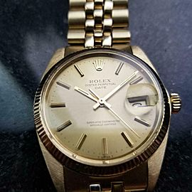 Men's Rolex 14k Solid Gold Oyster Date 1503 Automatic c.1979 Swiss Vintage LV802