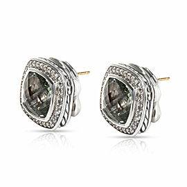 David Yurman Albion Prasiolite & Diamond Earrings in Sterling Silver 0.64 CTW