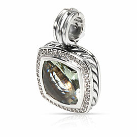 David Yurman Albion Prasiolite Diamond Pendant in Sterling Silver 0.32 CTW