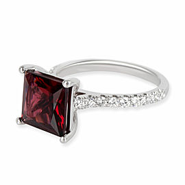 Garnet & Diamond Engagement Ring in Platinum 0.5 CTW