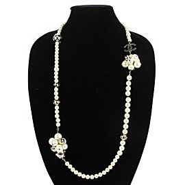 "Chanel - Pearl Necklace with CC Pearl Crystal Clusters - Silver - 41"" Long"