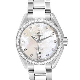 Omega Aqua Terra 34 Steel Diamond Ladies Watch 231.15.34.20.55.002 Unworn