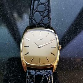 Men's Piaget ref.9591 30mm 18k Gold Manual Wind Ultra-Thin, c.1970s LV833BLK