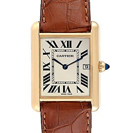 Cartier Tank Louis 18k Yellow Gold White Strap Mens Watch W1529756