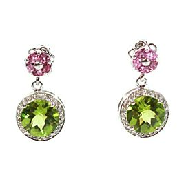 Sonia Bitton - Diamond Earrings Pink Tourmaline & Green Peridot - 14K White Gold