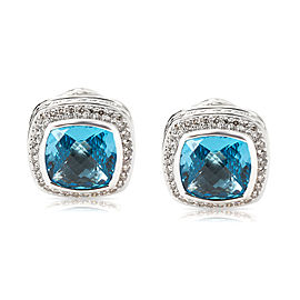 David Yurman Blue Topaz Albion Earrings in Sterling Silver
