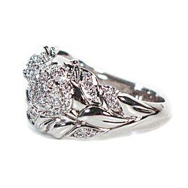Kat Florence - Frog Diamond Ring - Diamond Leaves - 18k White Gold US 7
