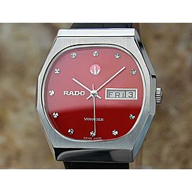 Rado Vintage Stainless Voyager 1970s Automatic Swiss Watch Mens 34mm Vintage EX3