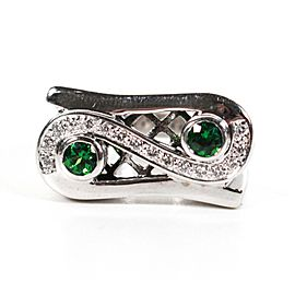 Sonia B - Ring - 14K White Gold - Diamonds & Green Tsavorite Emeralds US 3.5