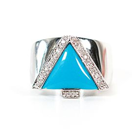 JCR Ring - 14K White Gold - Turquoise Triangle - Diamond - US 6.5