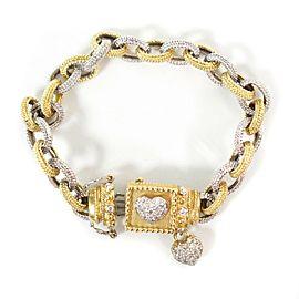 Stambolian .70 CTW Diamond Love Bracelet - 18K Yellow & White Gold Chain