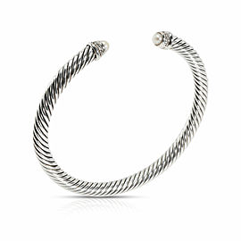 David Yurman Cable Bangle in Sterling Silver 0.07 CTW