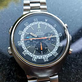 Omega Mens 1970s Flightmaster 43mm Vintage Chronograph Stainless Watch LV286