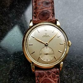 Omega Mens Automatic Bumper Solid 18k Gold 32mm 1950s Vintage Swiss Watch LV524